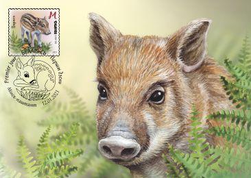 Children philately. Wild baby animals